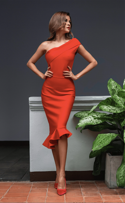 One shoulder red midi bandage dress - front view
