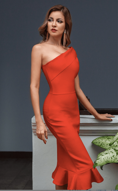 One shoulder red midi bandage dress - side view