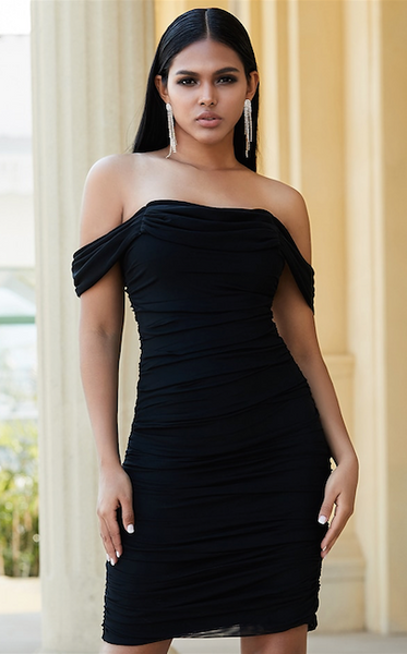 black draped bodycon bandage dress - side view on model