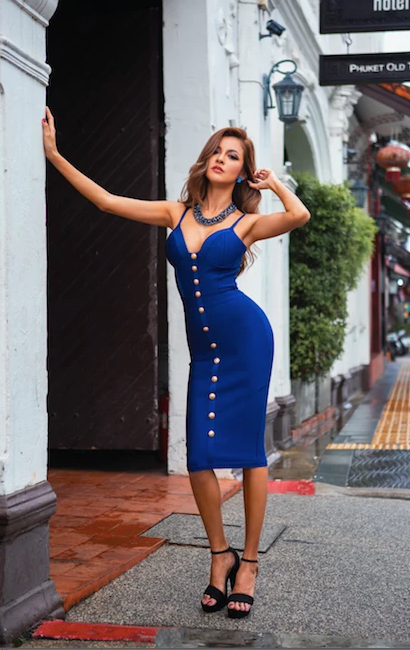 blue button front bandage dress - front view