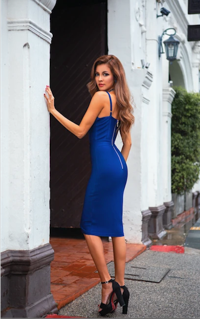 Blue button front bandage dress - side view