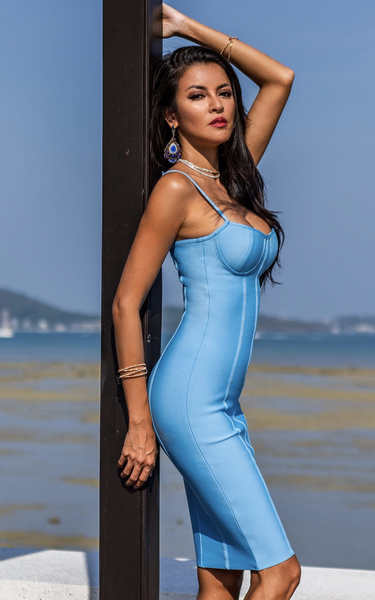 cornflower blue bandage bodycon dress
