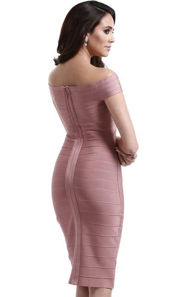 nude pink off shoulder bandage dress