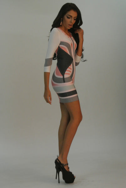 colorful bodycon dress on model