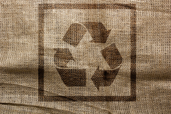 recycling stamp on sustainable organic cloth