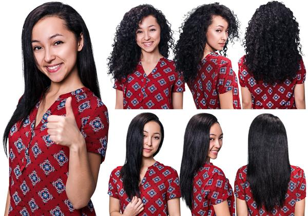 Girl showing various stages of curly hair