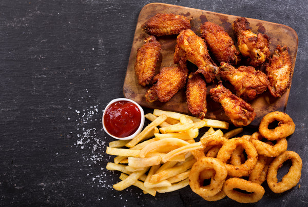 french fries and fried chicken meal