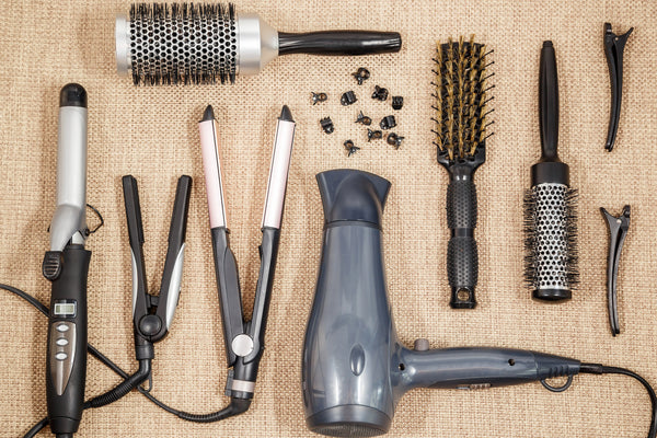Professional hairdressing equipment and flatirons