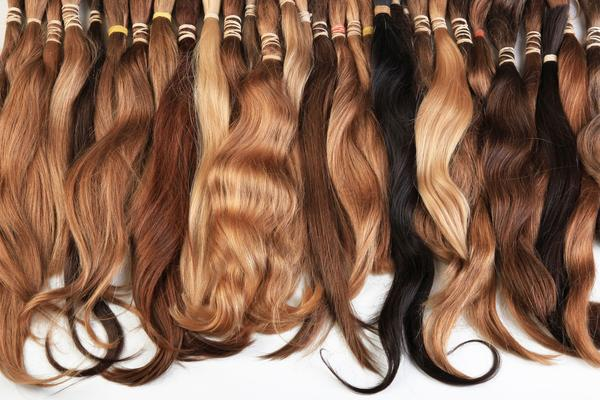 hair extensions hanging side by side