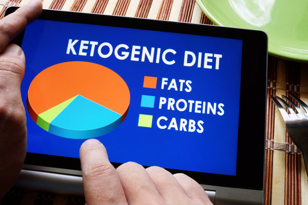 Man holding tablet with meal plan of Keto or Ketogenic diet