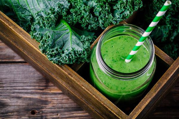 healthy green smoothie with kale