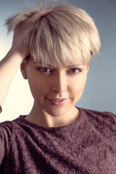 beautiful and chic girl with short pixie haircut