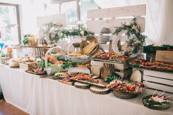 meat and cheese buffet at wedding