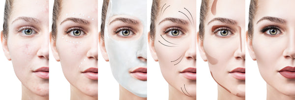 Beautiful woman step by step improves her skin condition.