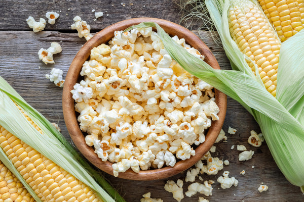 bowl of popcorn with corn cobs