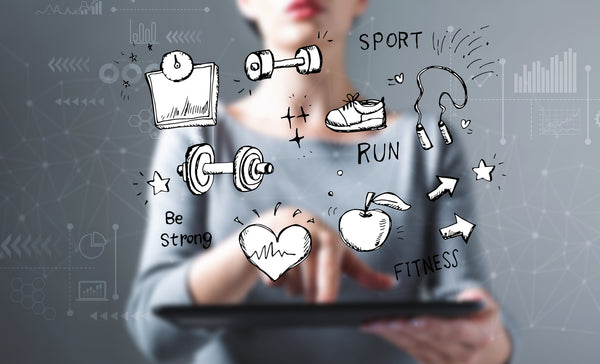 Fitness and diet with business woman using a tablet computer