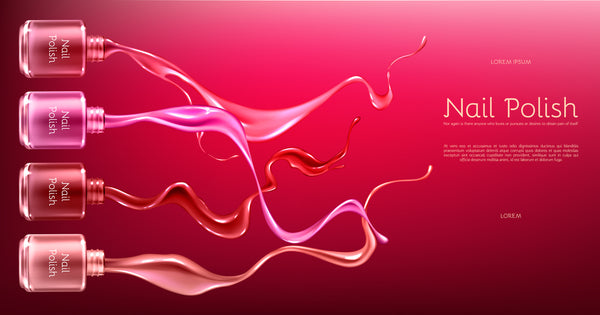 Red or pink nail polish 3d realistic vector ads banner