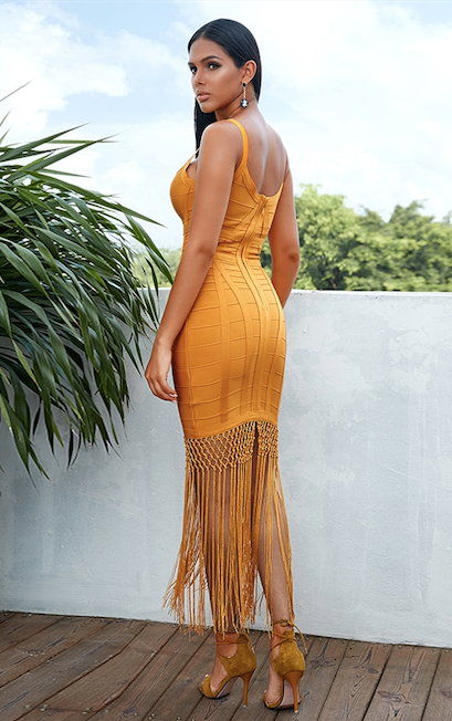 tassel fringe skirt bandage dress - back view