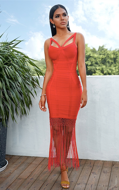 tassel fringe skirt bandage dress - front view