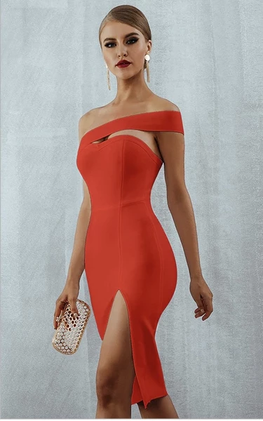 red high slit bandage dress - side view on model