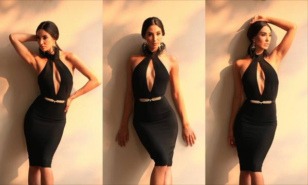 collage of model wearing black halter dress