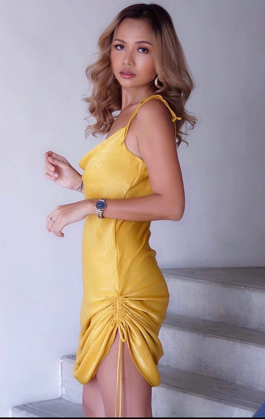 sunset yellow bodycon dress in silk