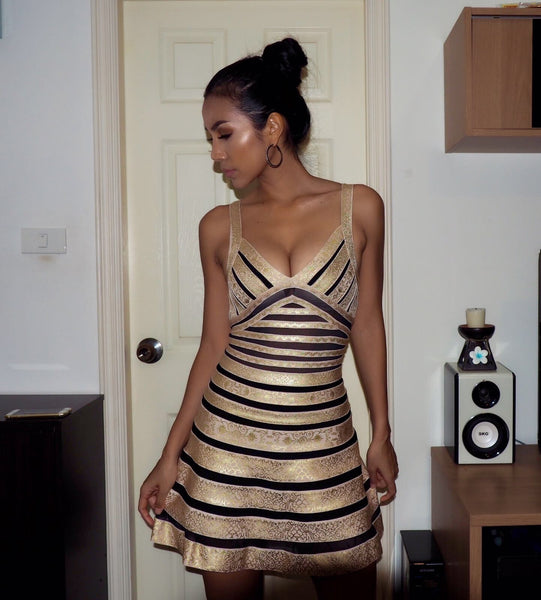 black and gold party dress - user image