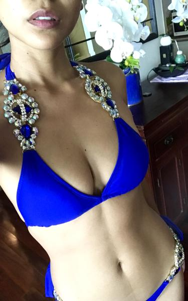 blue crystal embellished bikini - close up view on model