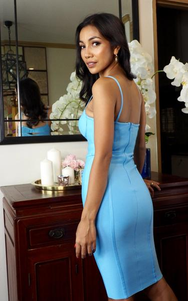 cornflower blue bandage dress side view on model