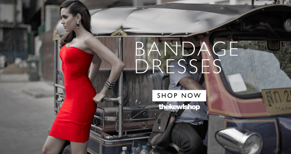 Red strapless bandage dress banner