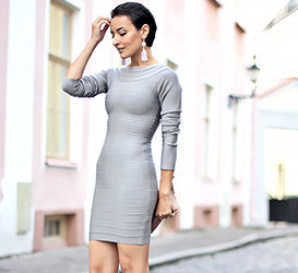 grey long sleeved  bandage dress