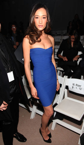maggie q blue bandage dress