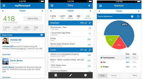 screenshots of myfitnesspal