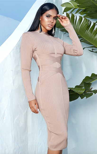 nude long sleeve bandage dress - side view