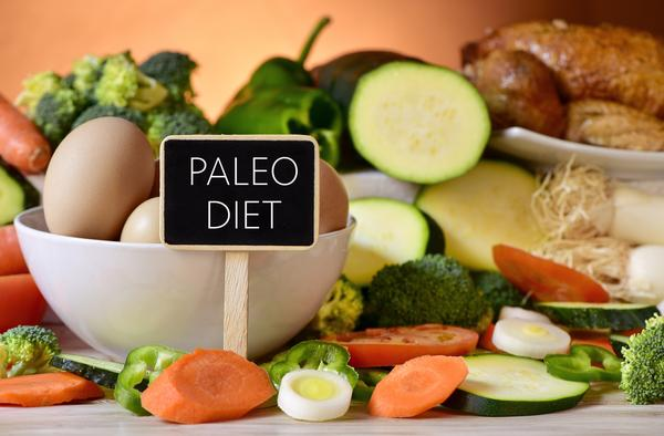 Paleo diet sign with food in background