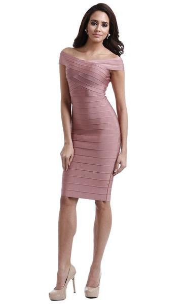 Pink off the shoulder dress - on model