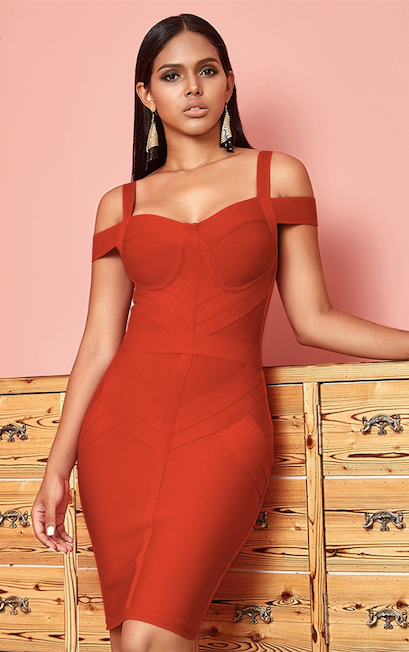 Red off shoulder spaghetti strap bandage dress - front view