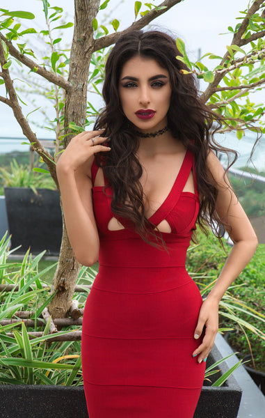 red bandage bodycon dress