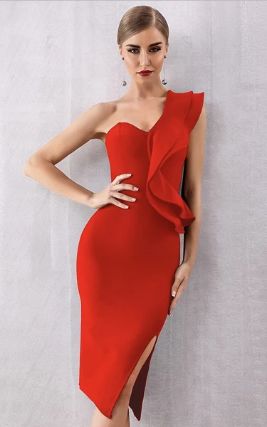 Red asymmetrical shoulder bandage dress with thigh split - front view