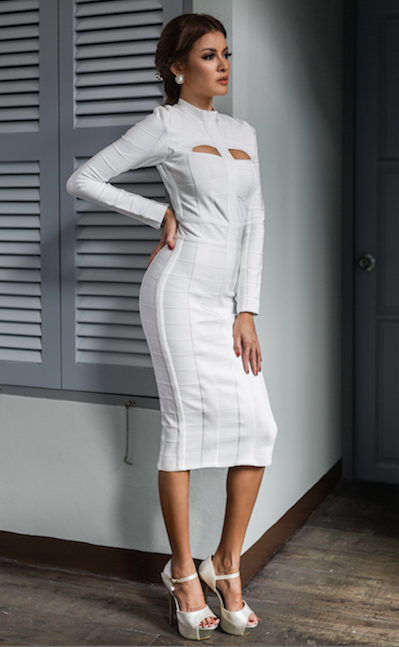 white cut out long sleeve bandage dress front view