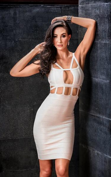 strappy white caged dress - on model