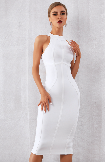 White midi halter bandage dress - front view