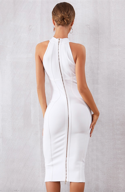 White midi halter bandage dress - back view