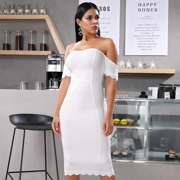 white short sleeve off shoulder bandage dress - front view on model