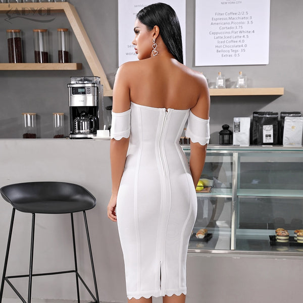 white short sleeve off shoulder bandage dress - back view on model