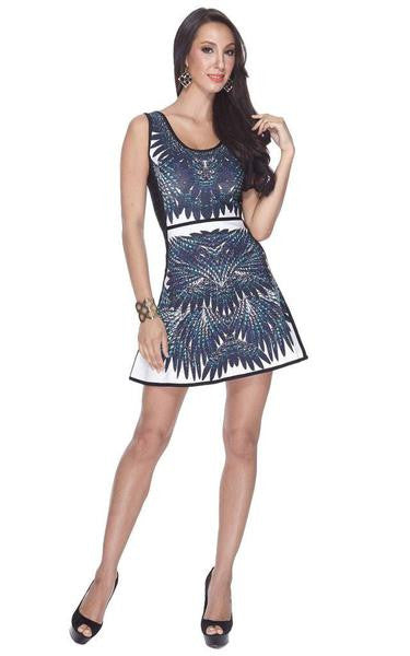 A-line sleeveless dress patterned