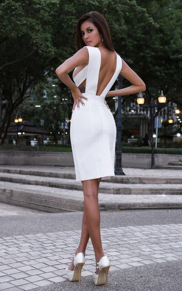 all white bodycon dress