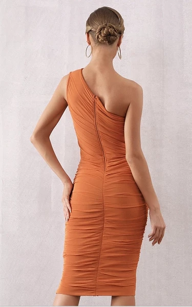 rust orange mesh bandage dress - back view on model