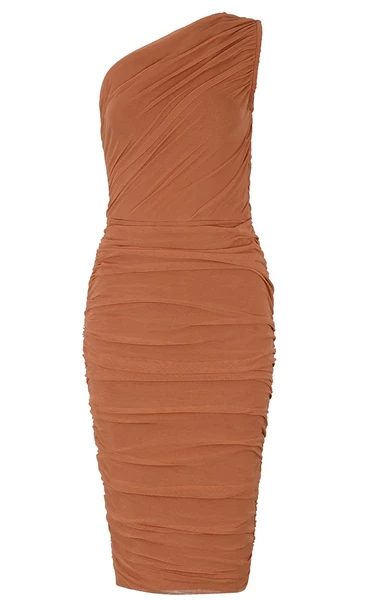 rust orange mesh bandage dress - front view close up