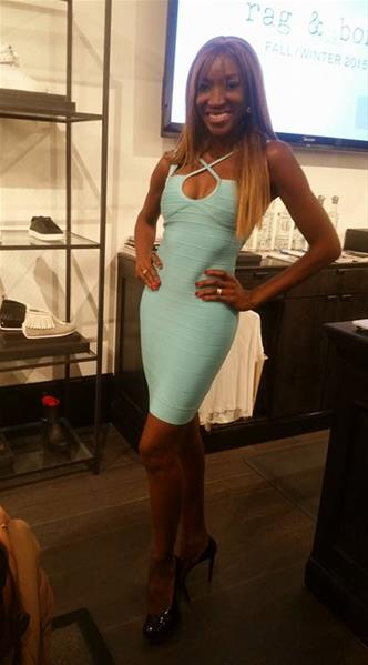 aqua bandage dress - on customer